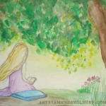 image of acrylic on canvas of girl reading under tree
