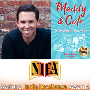 photo image of multi-award winning author, Richie Frieman, and his book, Maddy & Cole Vol. 1: The Food Truck Grand Prix with NIEA National Indie Excellence Award banner and seal