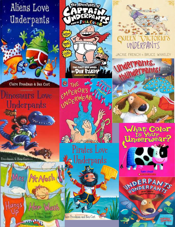 Collage of kids books about underpants